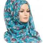 sky blue floral hijab