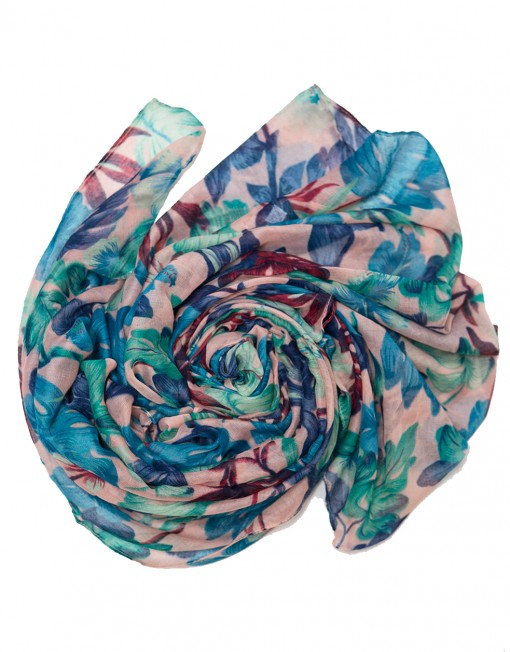 blue green floral printed hijab