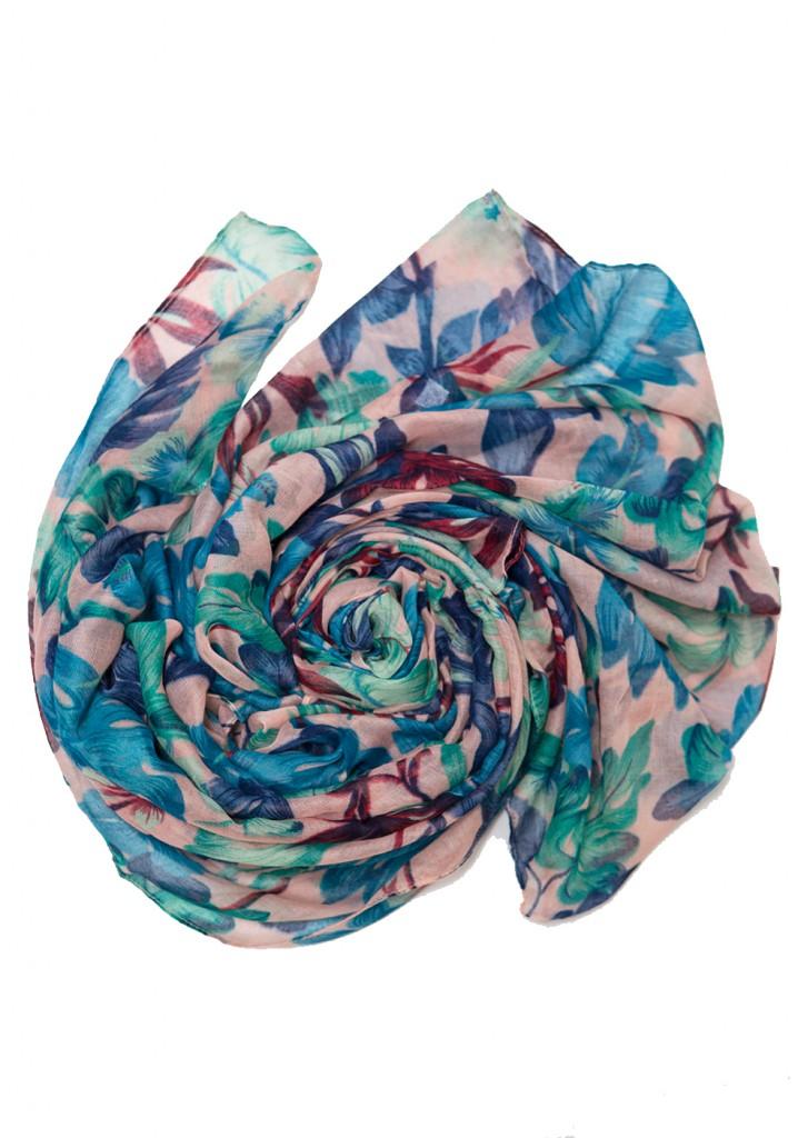 blue green floral printed hijab