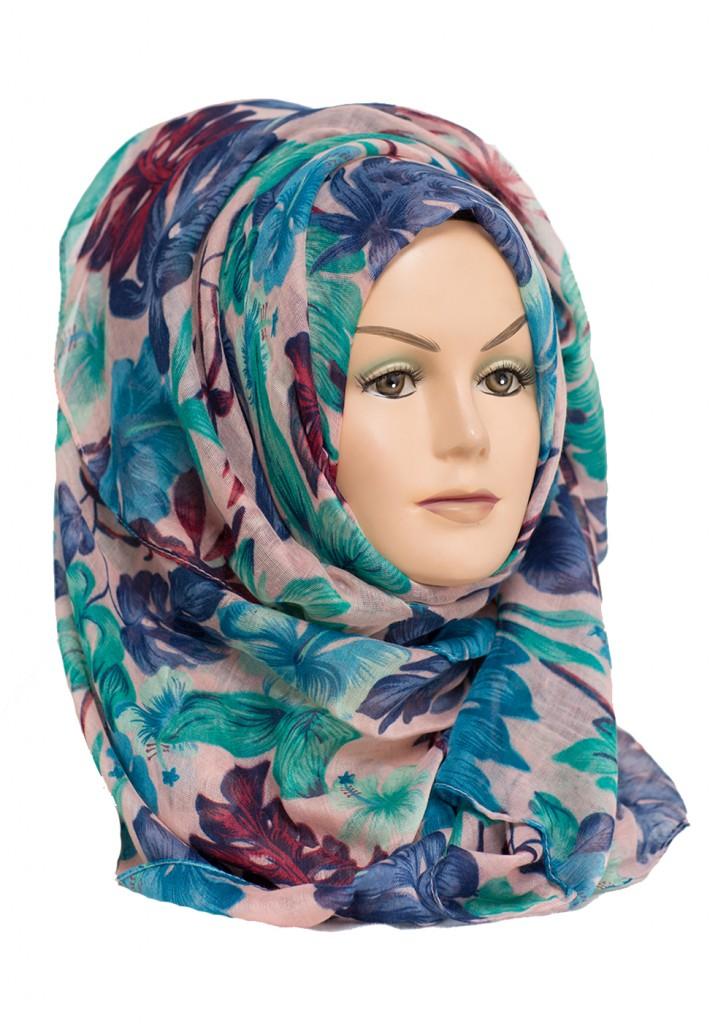 blue green pink floral hijab