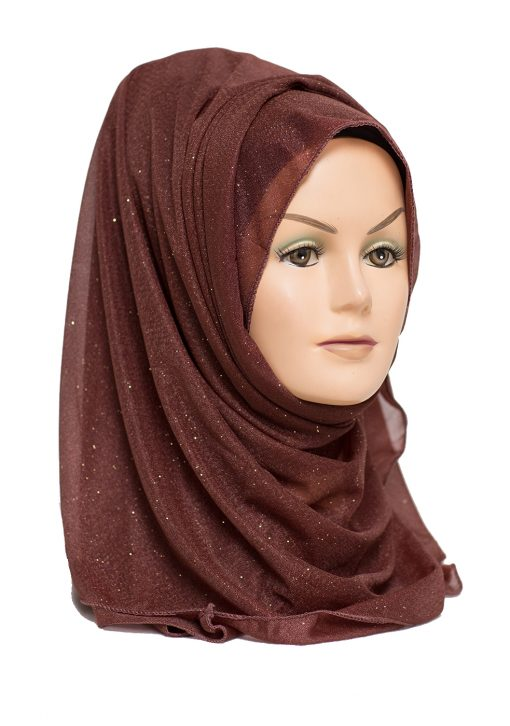 brown shimmer hijab