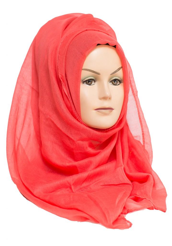 coral plain maxi hijab
