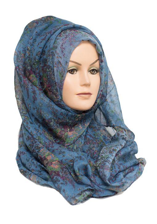denin blue floral hijab
