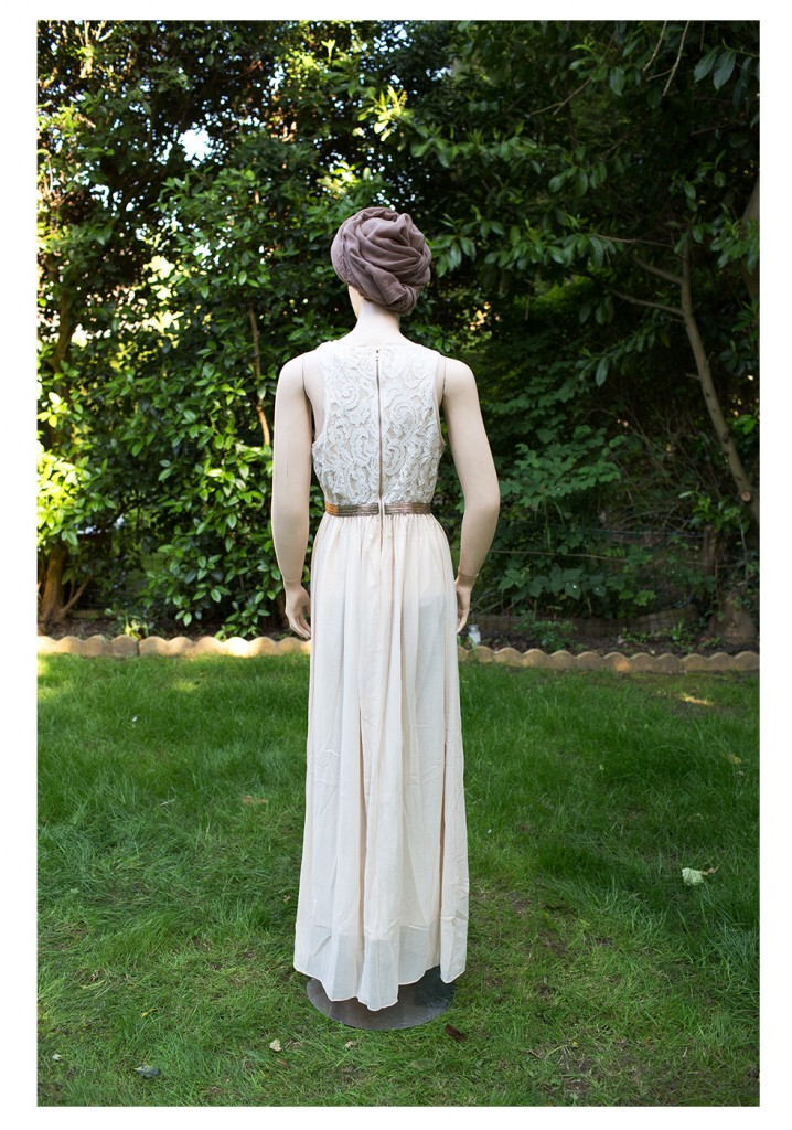 gold shimmer material modest dress