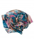 hot pink and blue printed hijab
