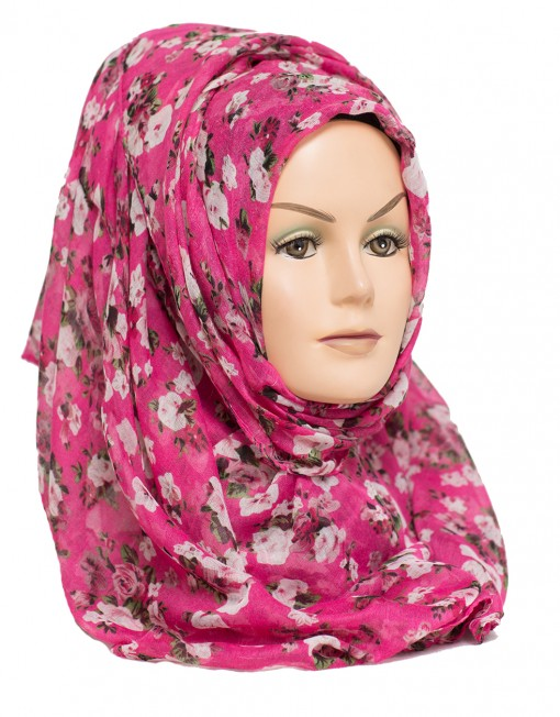 hot pink floral printed hijab