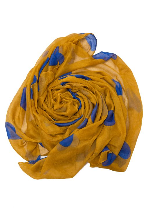 mustard and blue hearts hijab