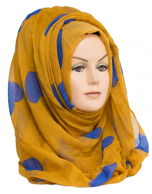 mustard heart print scarf