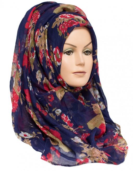 navy hijab, floral hijab