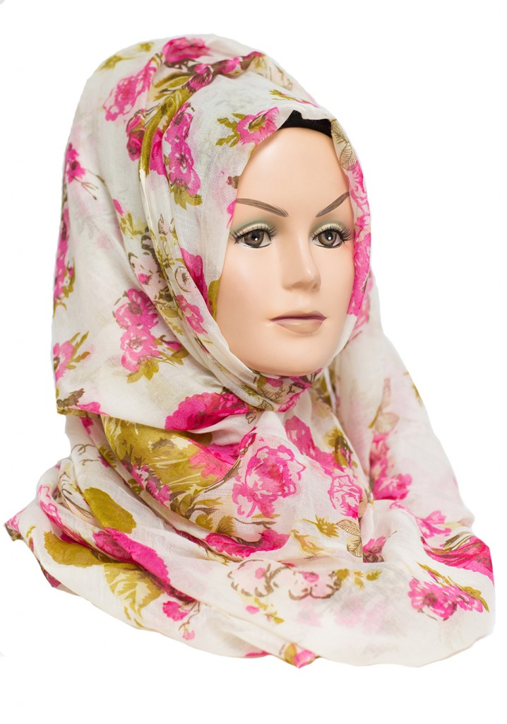 pink and mint green floral hijab