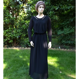 plain black evening modest dress