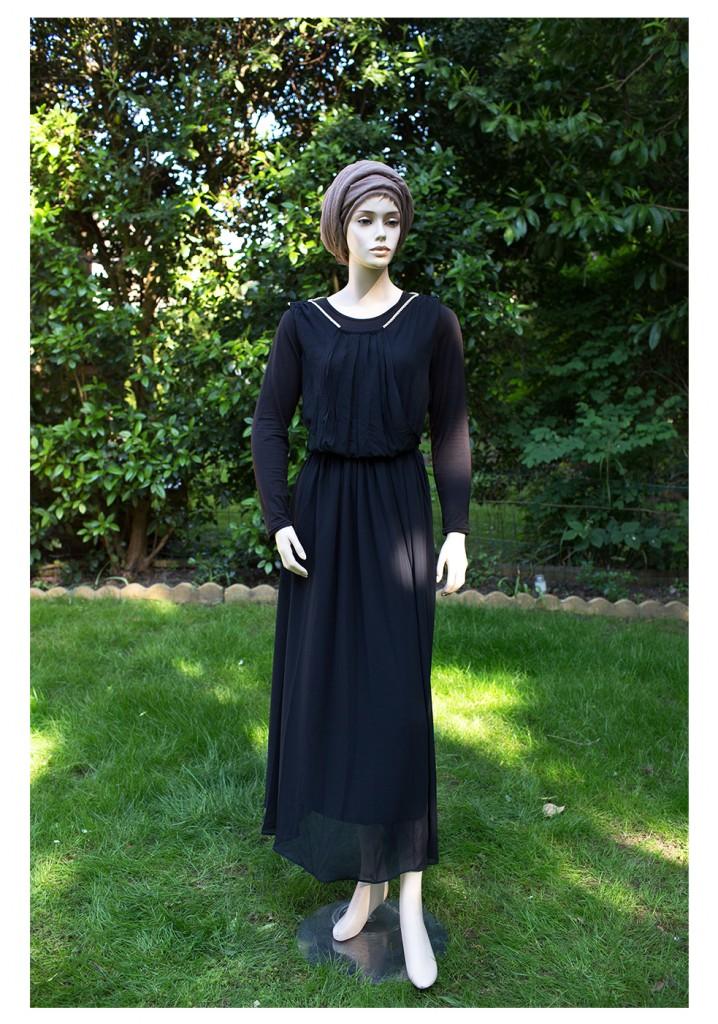 plain black evening modest dress