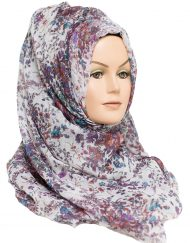 purple and white floral printed hijab