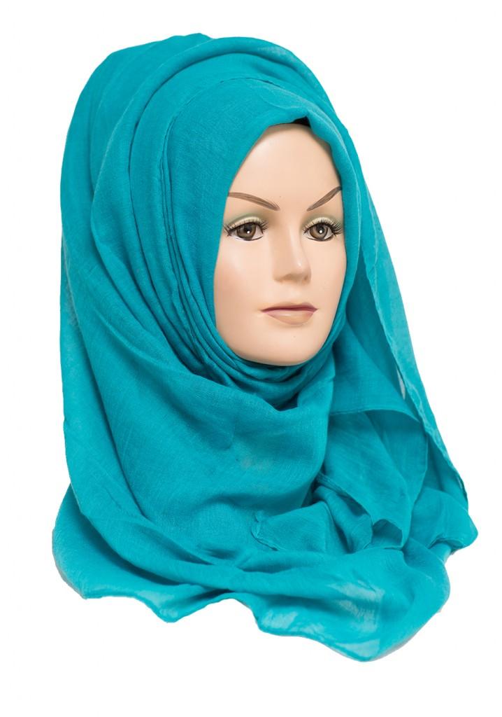 turquoise plain maxi hijab