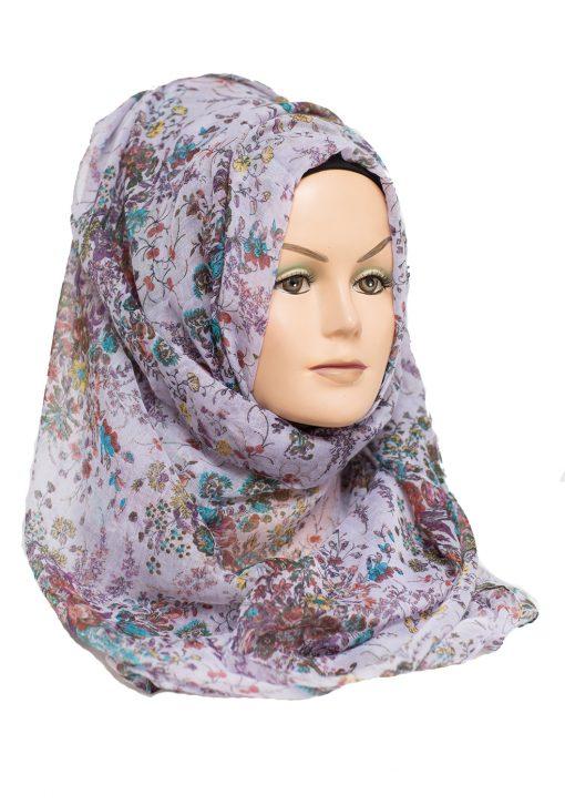 voilet floral printed hijab