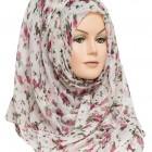 white floral print hijab