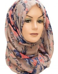 Blue and Brown Coral Maxi Hijab