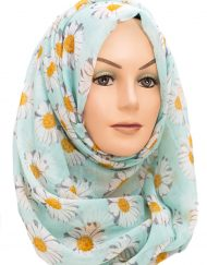 mint green and yellow sunflower maxi hijab