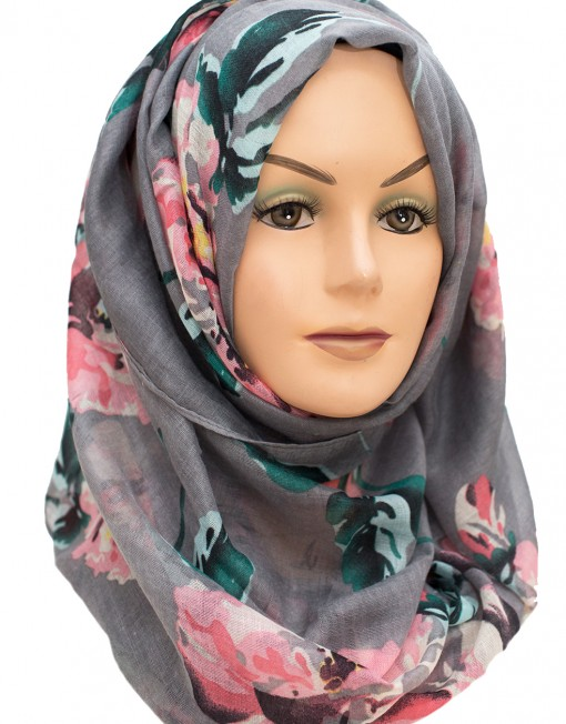 Pink and Grey Floral Pink Hijab