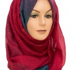 Red and Aqua Sparkle Hijab
