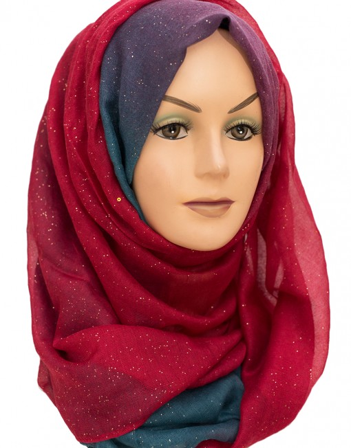 Red and Aqua Sparkle Hijab