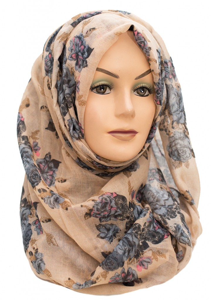 Rustic brown and blue floral maxi hijab