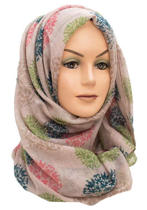 Brown Floral maxi hijab