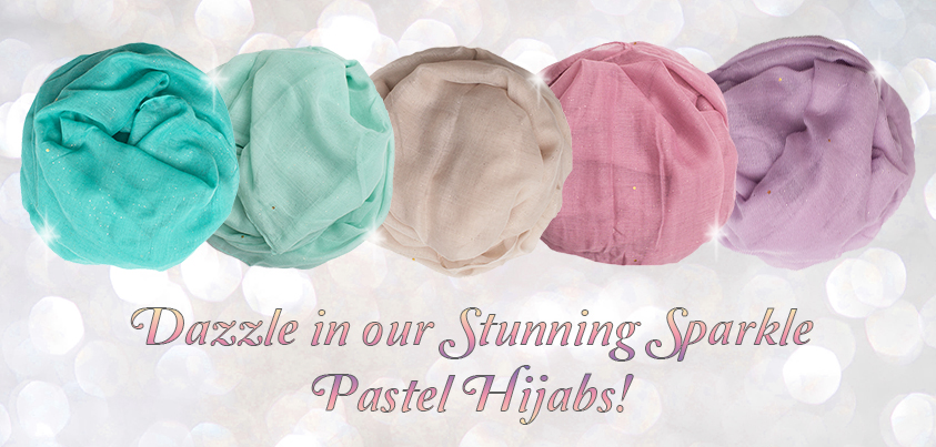 pastel colour sparkley maxi hijab