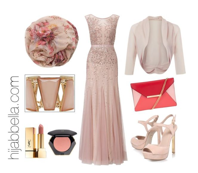 pastel pink hijab evening dress