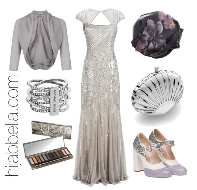gre and silver evening gown