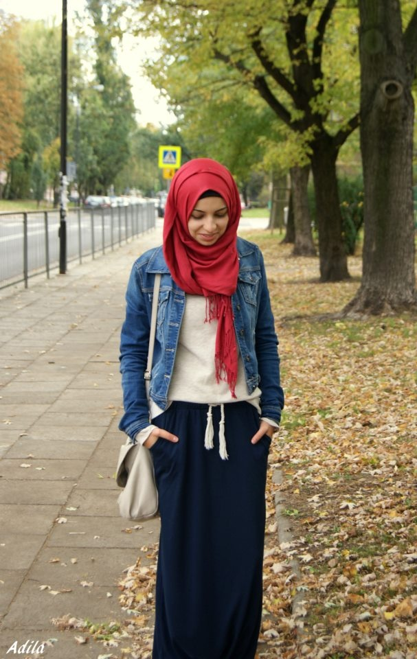 denim winter hijabi outfit