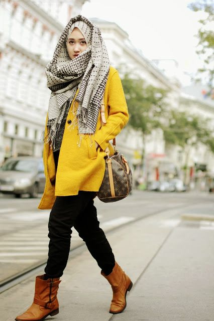 bright hijabi winter outfit
