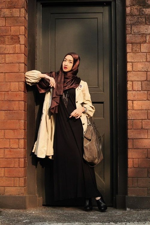 black and beige winter hijab outfit