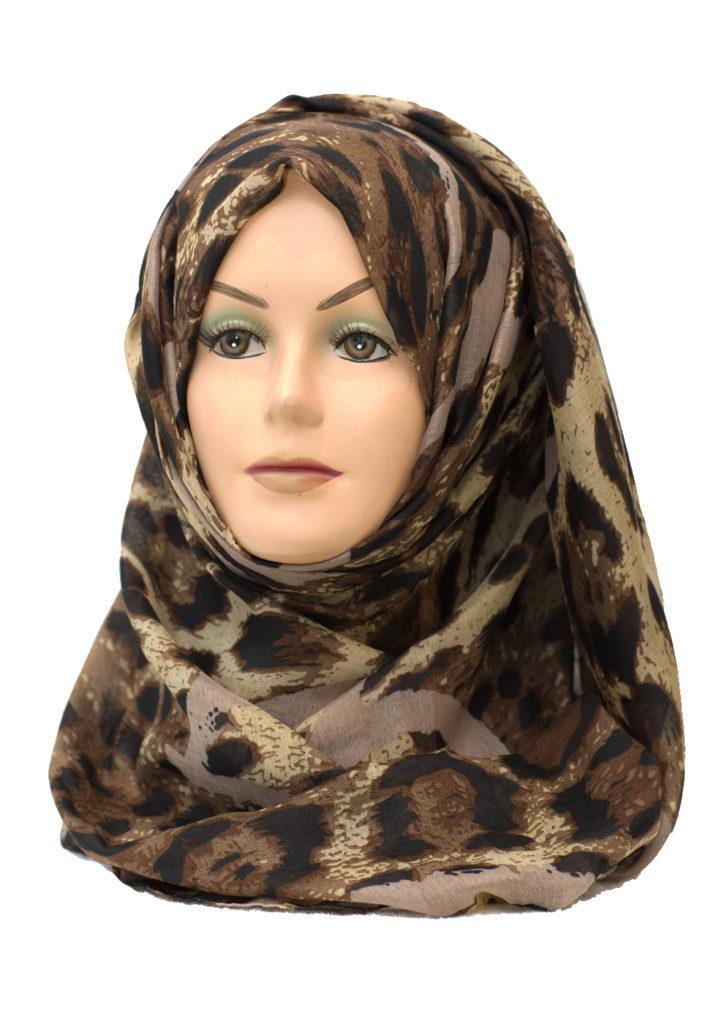 beige leopard print maxi hijab