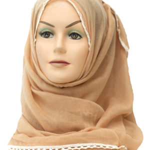 beige lace border plain maxi hijab