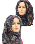black and red printed hijab