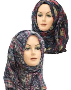 black and red printed hijab