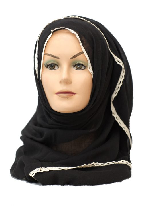 plain black maxi hijab with lace edge