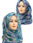 blue floral printed hijab