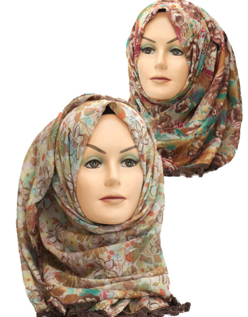 brown 2 in 1 printed crinkle hijab