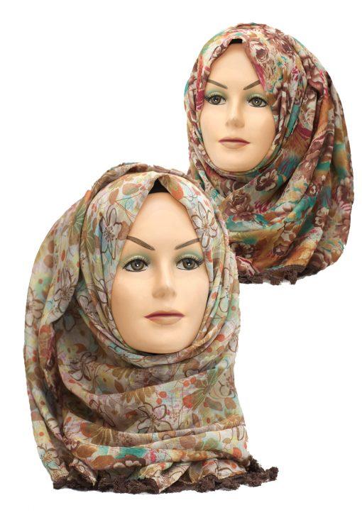 brown 2 in 1 printed crinkle hijab