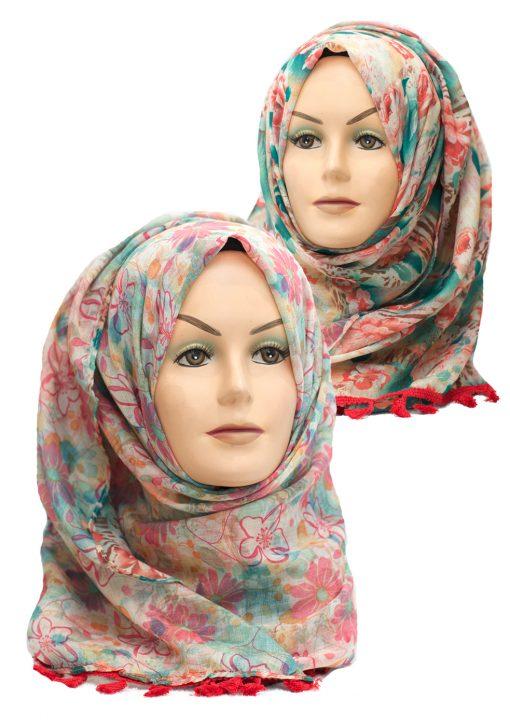 coral floral printed reversible hijab