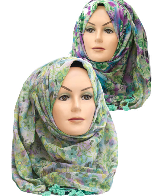 green and purple floral print hijab