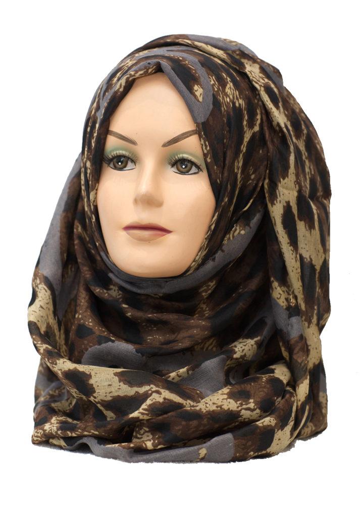 grey leopard print hijab
