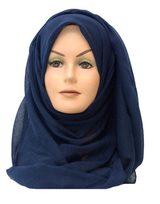 plain navy blue maxi hijab