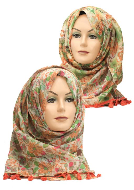 orange and green 2 in 1 hijabs
