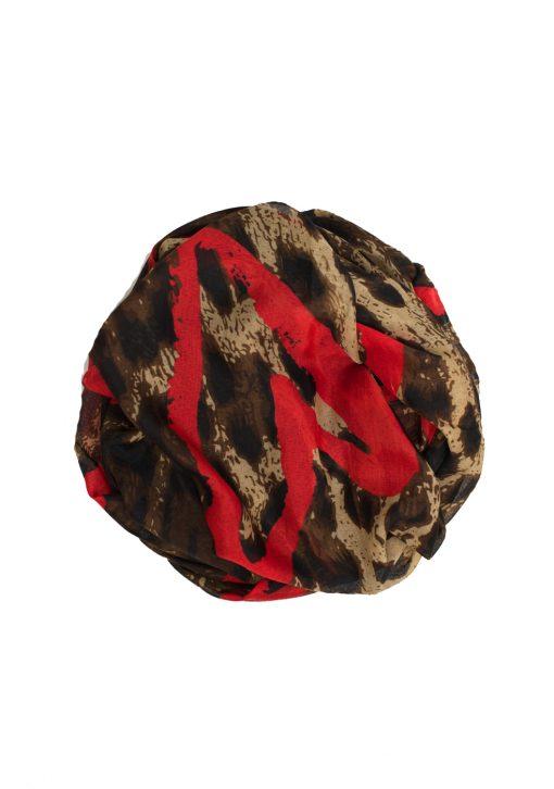 heart printed red maxi printed hijab