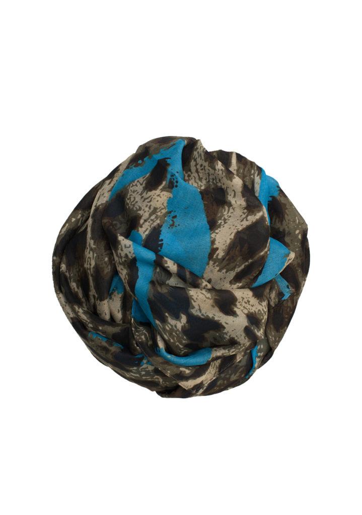 aqua blue leopard print hijab
